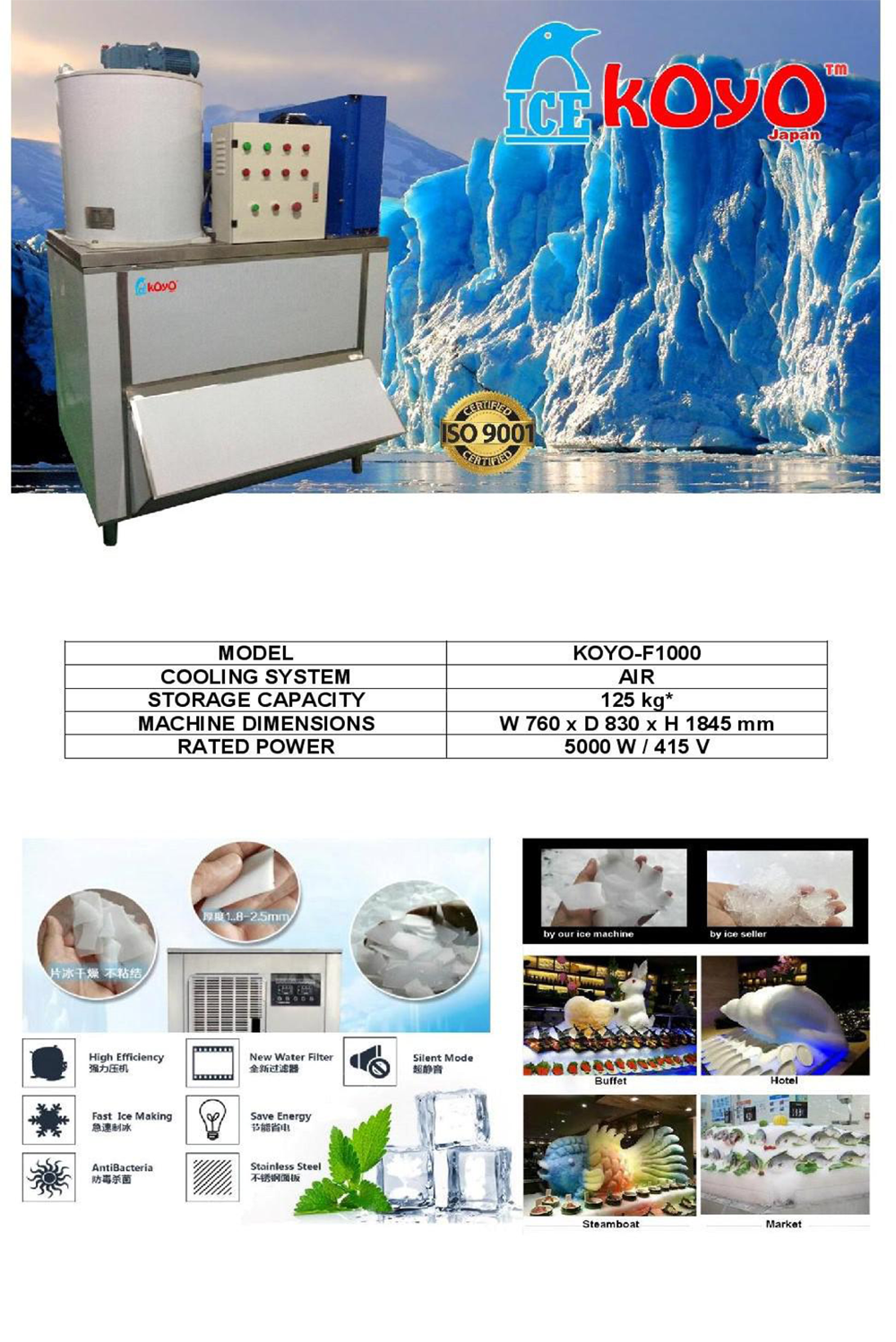 Commercial Flake Ice Maker F1000